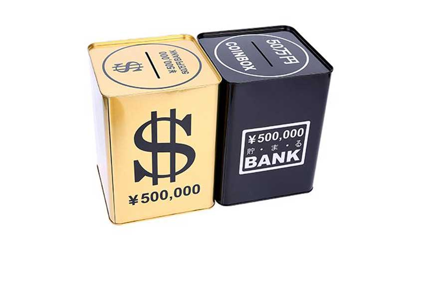 Square metal money box