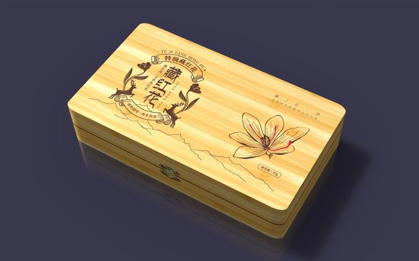 Wooden saffron packaging box design