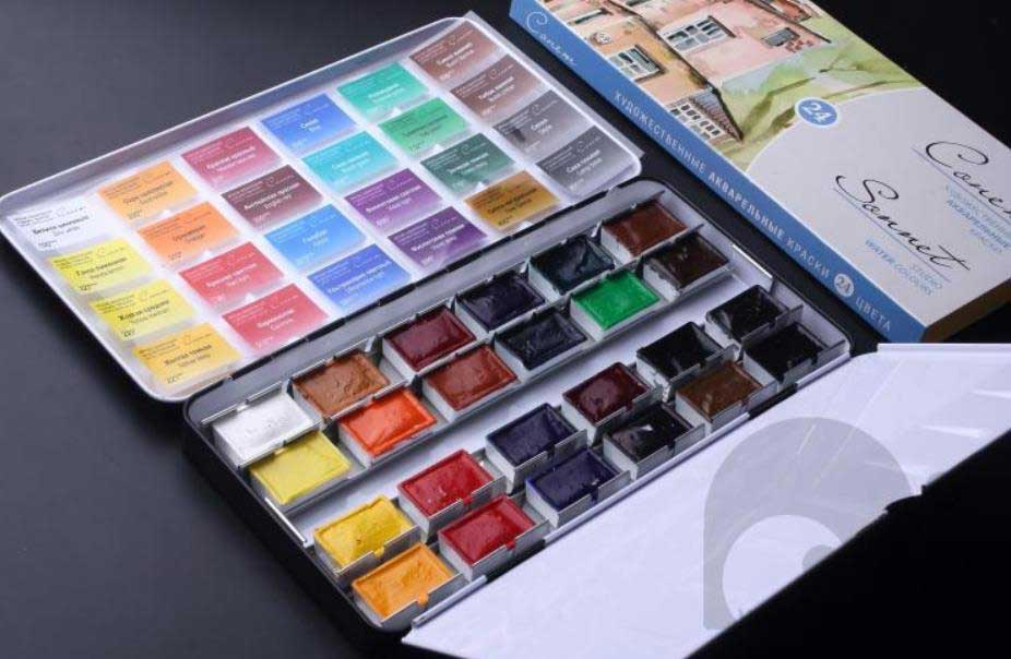 12 color artist watercolor metal box