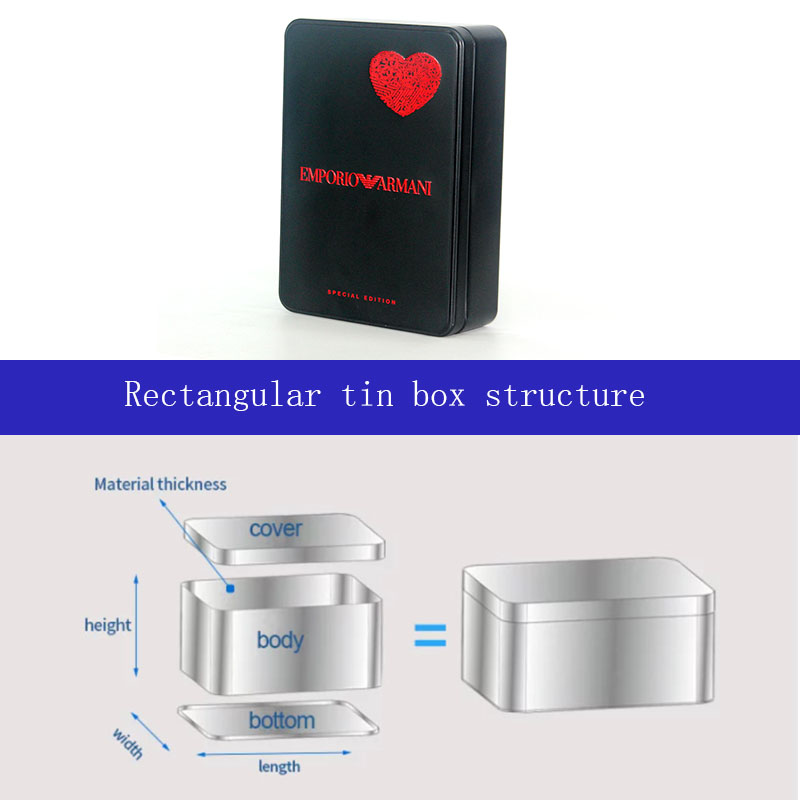 Customized rectangular cosmetic tin box structure