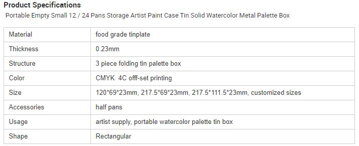 Portable 36-color palette tin box parameters
