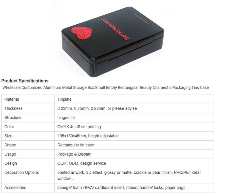 Rectangle cosmetic tin box parameters