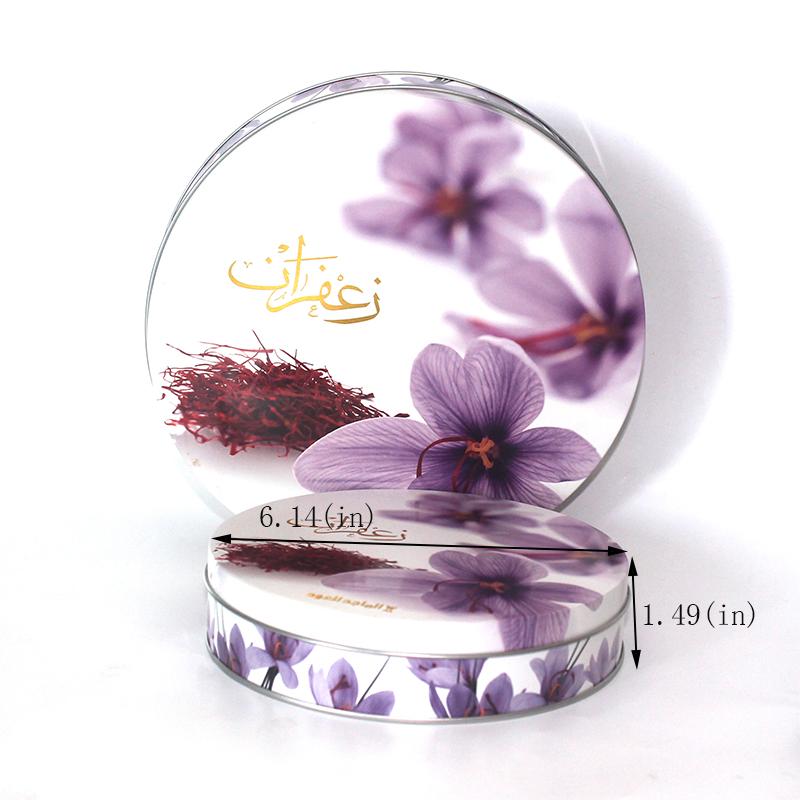 Round large saffron tin box size
