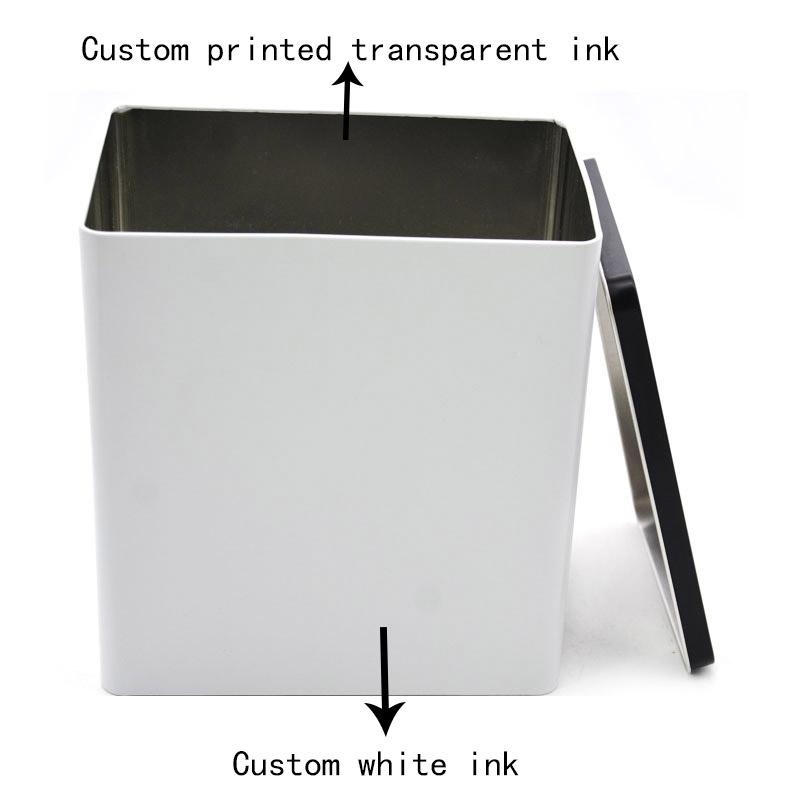 Custom rectangular empty storage tin can