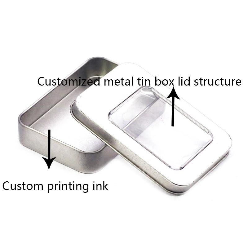 Custom silver metal tin box with PVC window