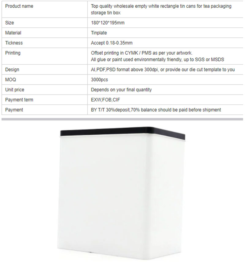 Customized rectangular empty storage tin can specifications
