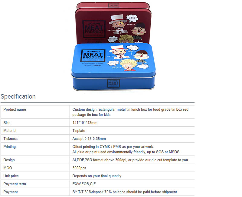Parameters of high-quality rectangular lunch tin box