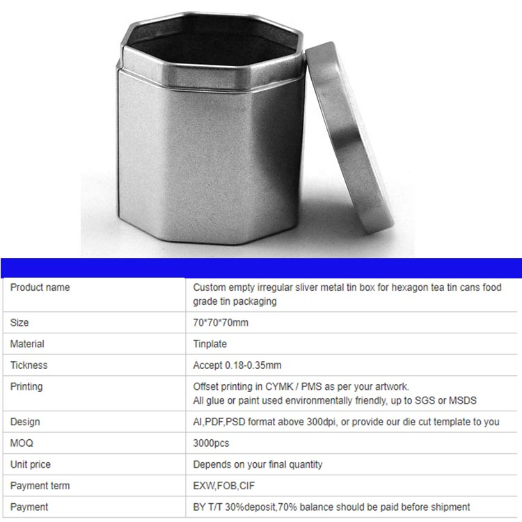 Specification of hexagonal silver metal tin box