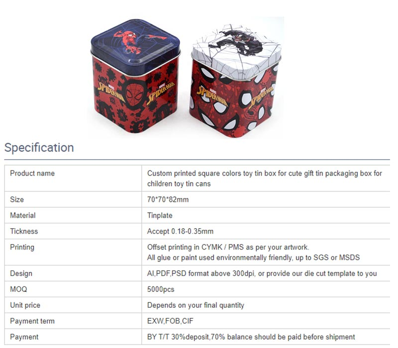 Spiderman toy storage tin can parameters