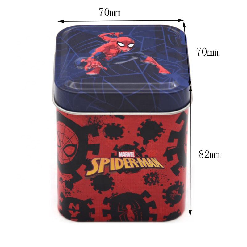 Spiderman toy storage tin size