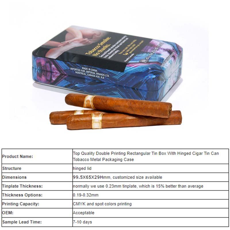Parameter table of small rectangular hinged lid tobacco tin box
