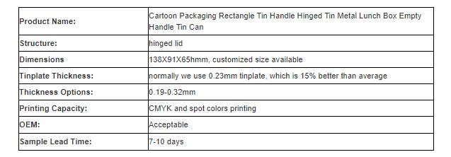 Cartoon rectangular lunch tin box with handle parameters