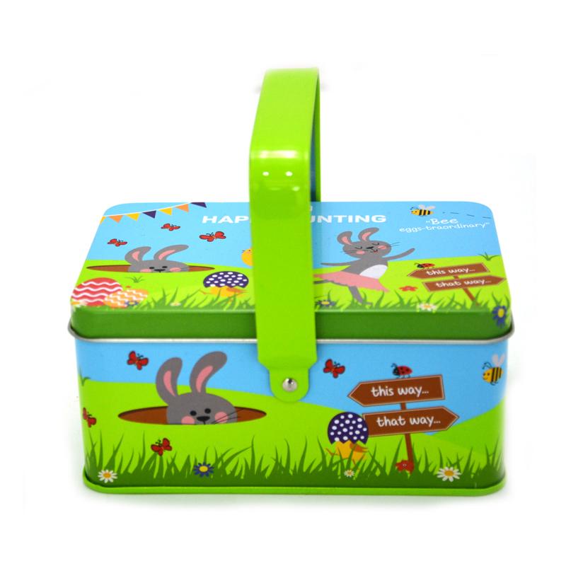Green children's lunch tin box