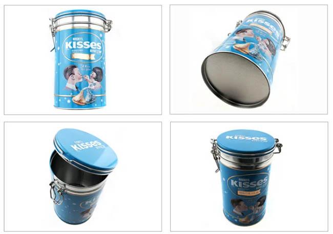 Цилиндрические консервные банки для шоколада