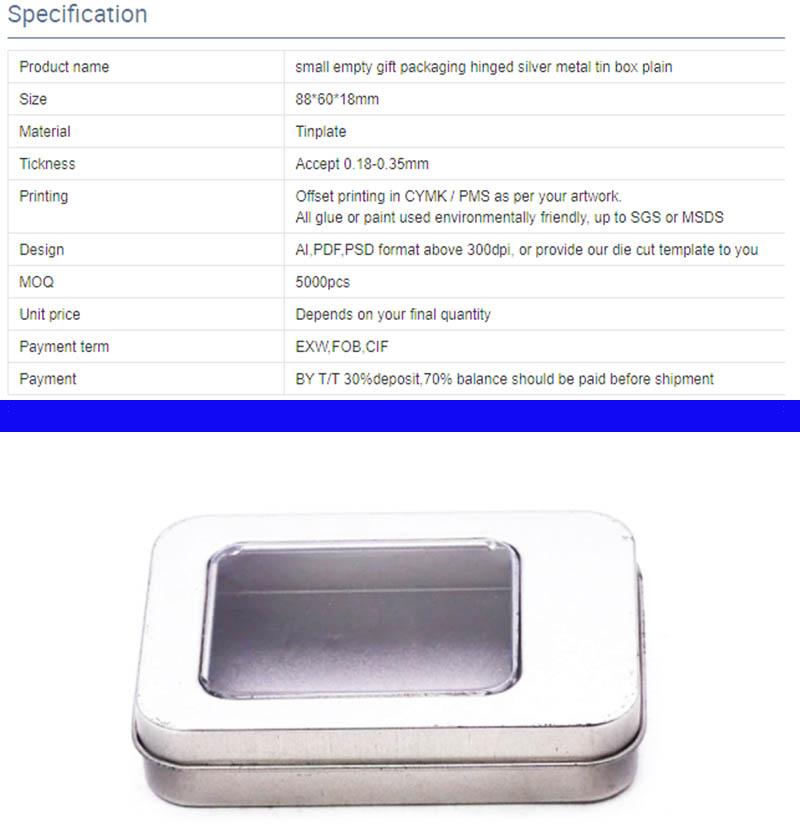 Индивидуальная серебряная металлическая жестяная коробка с параметрами окна из ПВХ