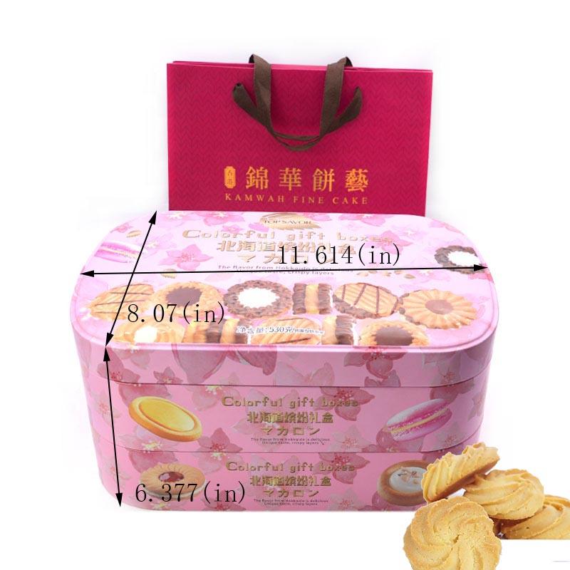 Индивидуальный двухслойный цветной подарочный размер жестяной коробки для печенья