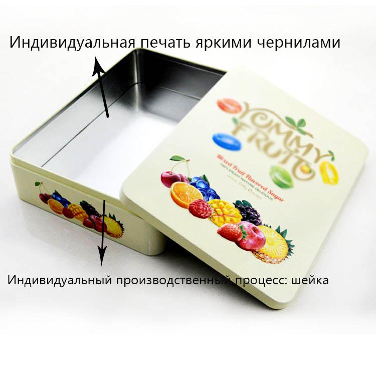 Прямоугольная жестяная коробка для фруктовых конфет