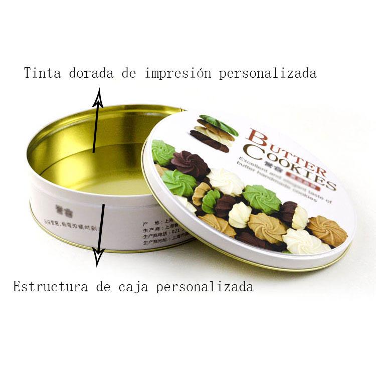 Caja de lata de galletas de mantequilla personalizada