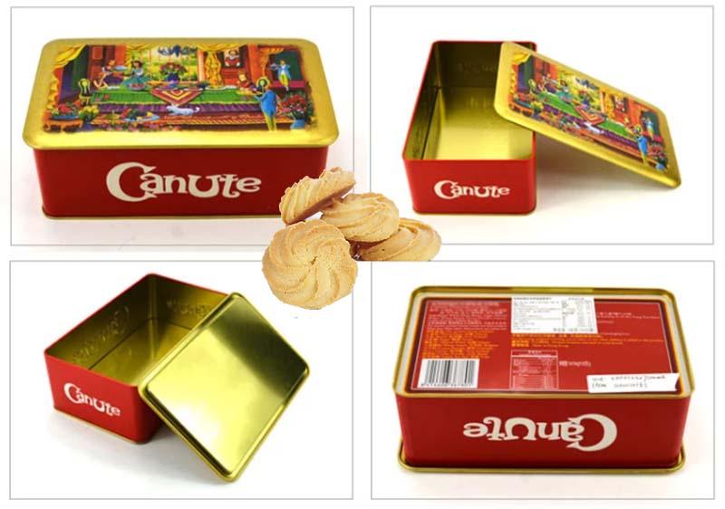 Caja de lata de galletas rectangular 160g serie