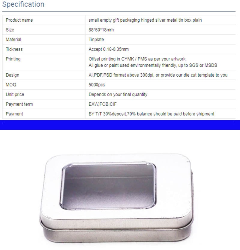 Caja de lata de metal plateado personalizada con parámetros de ventana de PVC