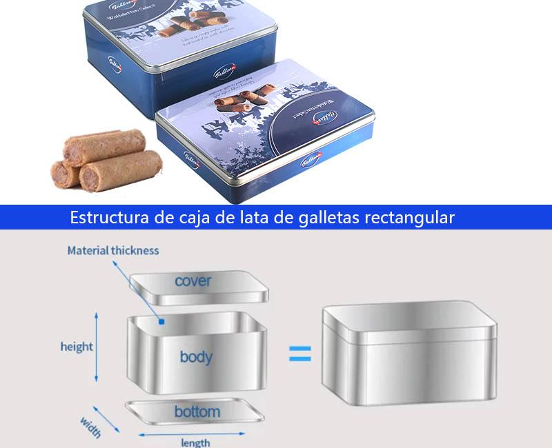 Estructura de caja de lata de galletas rectangular