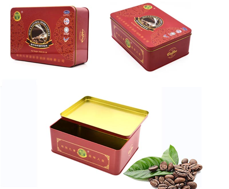 Serie de cajas de lata de café cuadrado rojo personalizado
