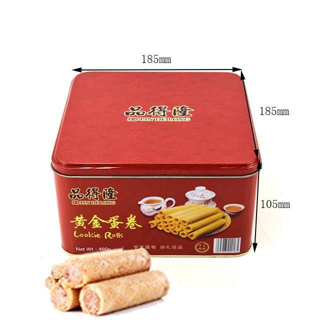 Tamaño cuadrado modificado para requisitos particulares de la caja de la lata de la galleta del rollo de huevo