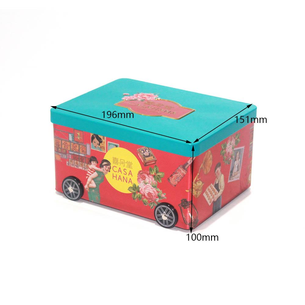 Tamaño de caja de lata de caramelo con forma de coche personalizado