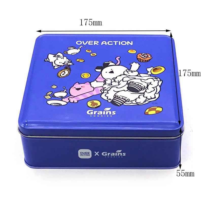 Tamaño de la caja de lata de regalo de galleta cuadrada