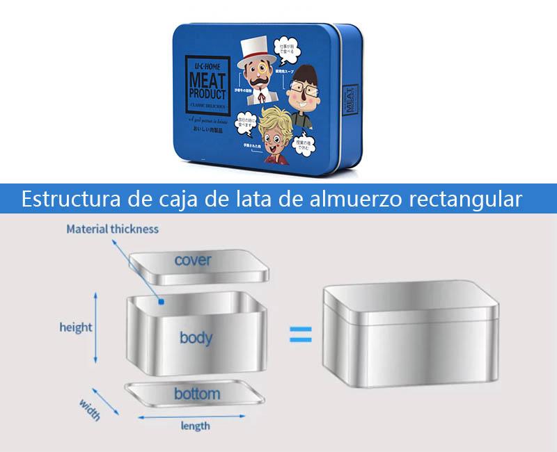Estructura de caja de lata de almuerzo rectangular