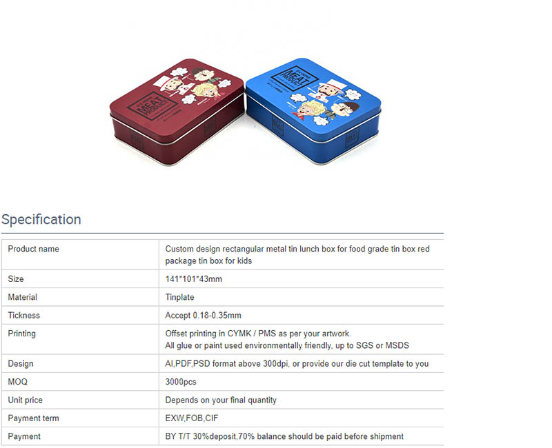 Parámetros de la fiambrera rectangular de alta calidad