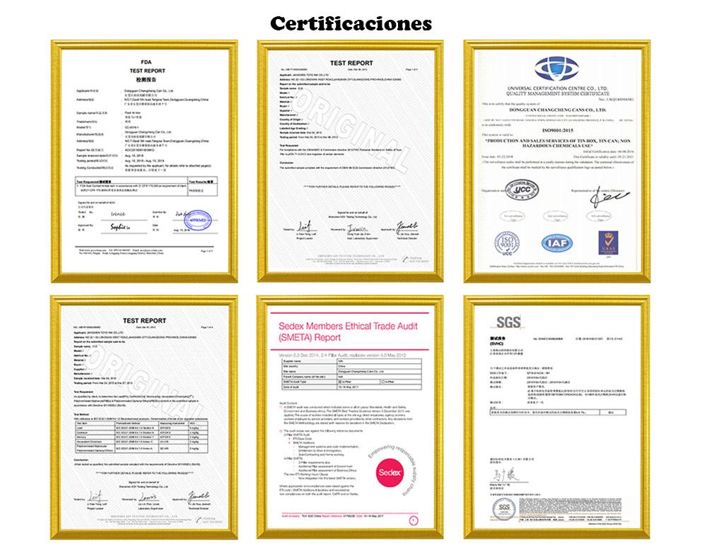 Certificado de calificación de fábrica de caja de hojalata