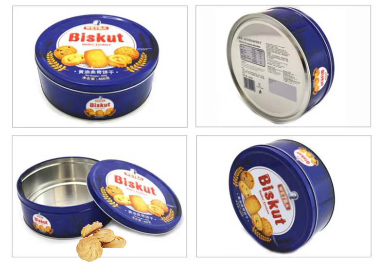 Série de boîtes de conserve rondes de biscuits au beurre