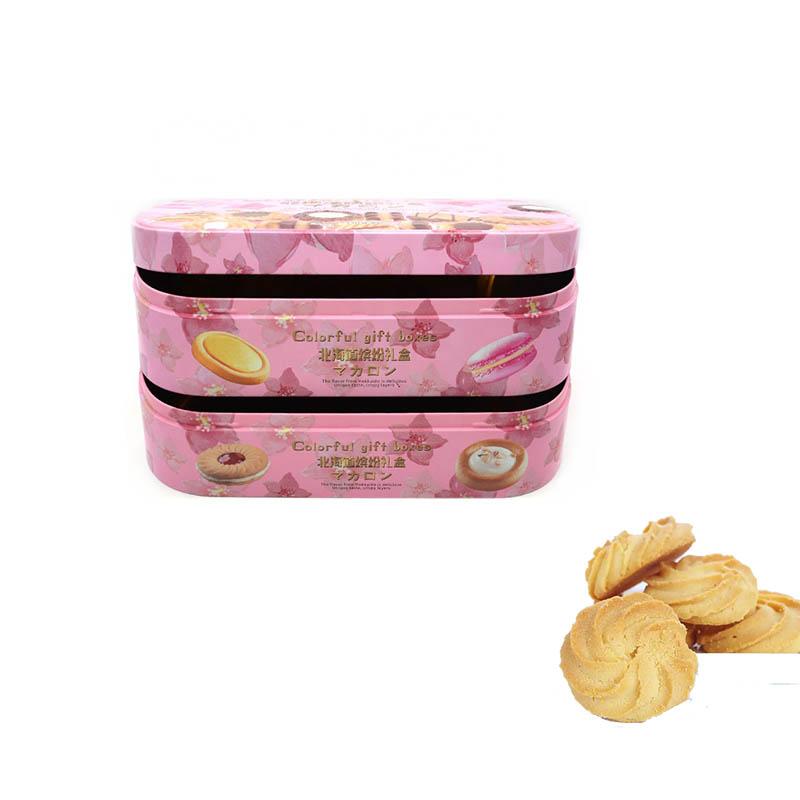 Série de boîte en étain de biscuit cadeau coloré à double couche en gros