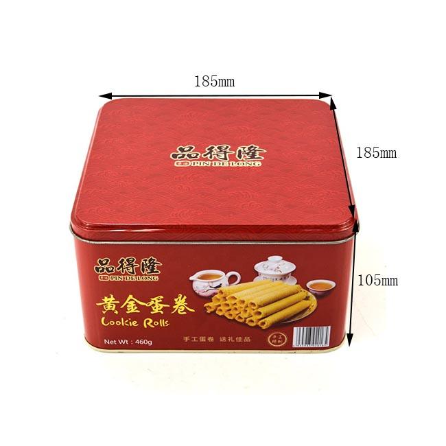 Taille personnalisée de la boîte en étain de biscuit de rouleau d'oeuf carré
