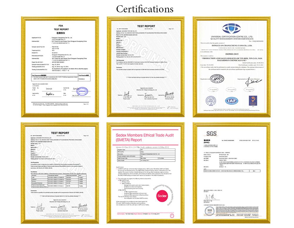 Certificat de qualification d'usine de boîte en fer blanc