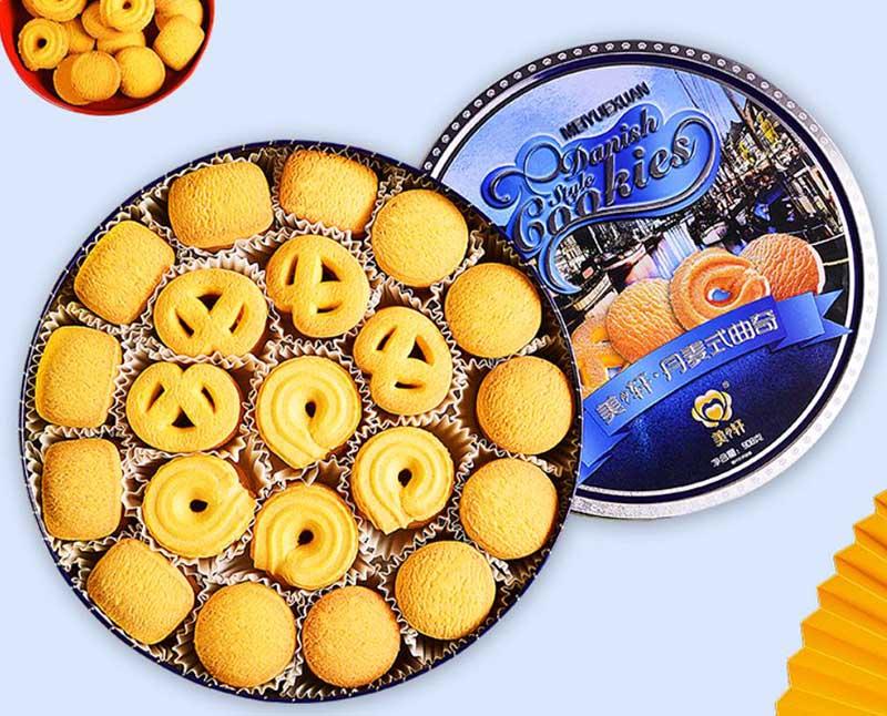 Lata de biscoitos de manteiga redondos