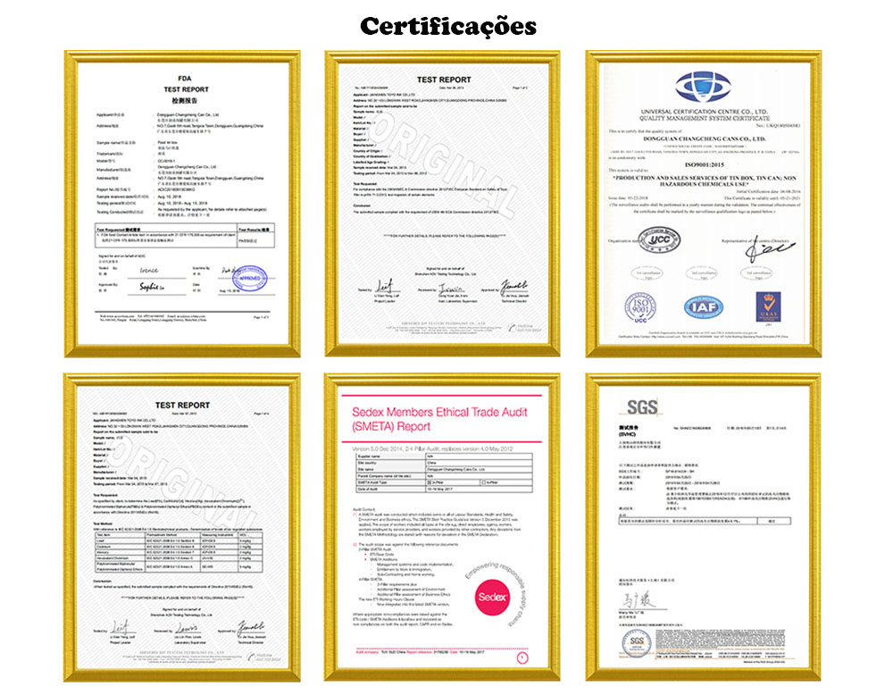 Certificado de qualificação de fábrica de caixa de lata